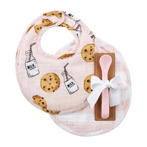 Mudpie Pink Milk Muslin Bib & Spoon Set