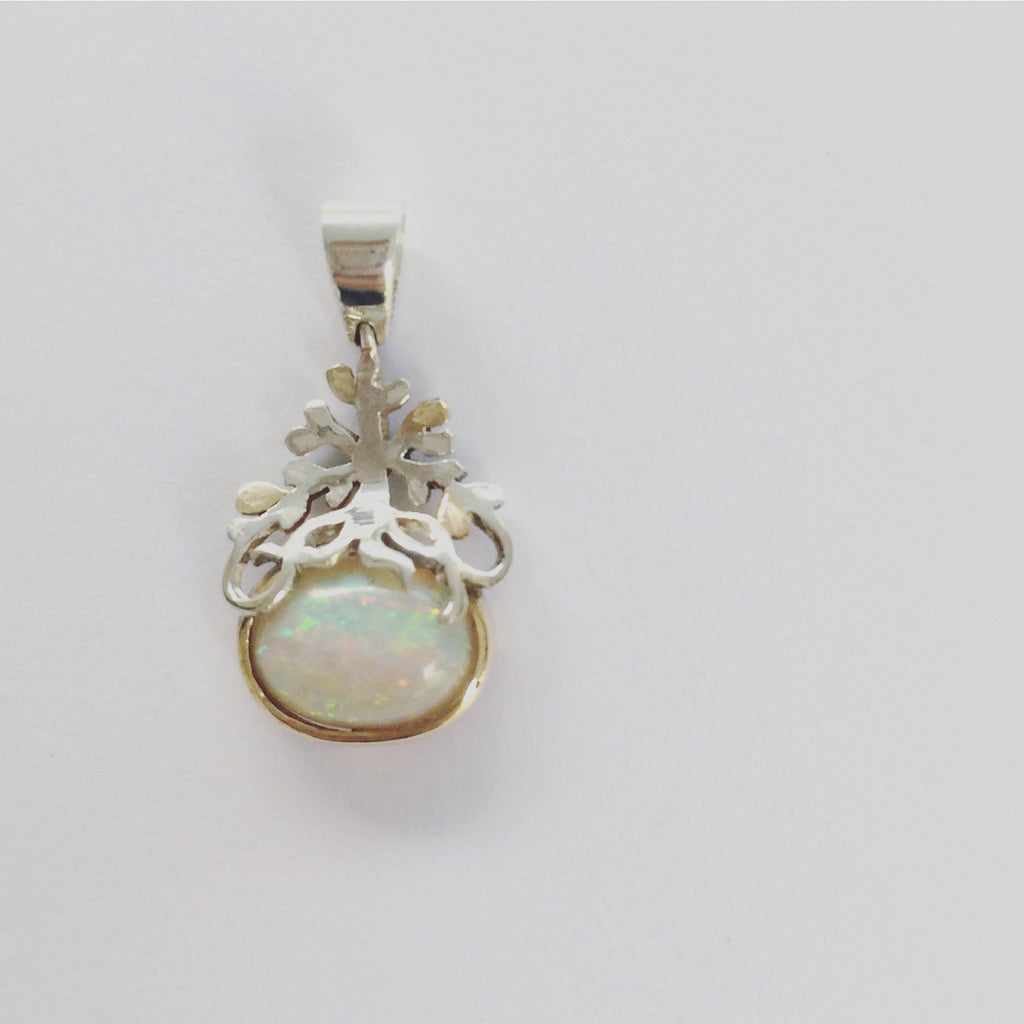 Opal, Gold and Silver Pendant