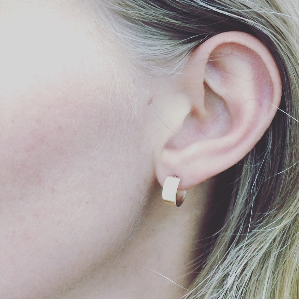 Simple Flat Gold Hoops