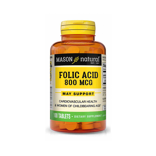 Ácido Folico 800mcg 100 Tabletas Mason Natural