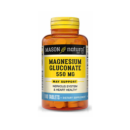 Magnesium Gluconate 550 mg 100 tabletas Mason Natural