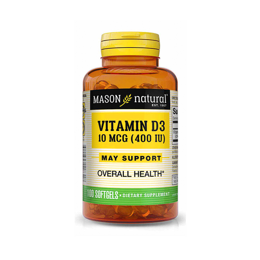 Vitamina D3 10mcg 400IU 100 softgels Mason Natural