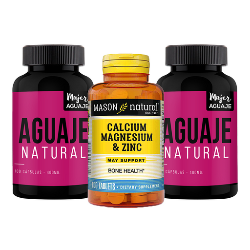 Aguaje 100 capsulas (2 frascos) + Super Calcio 600mg + D3 60 tabletas Mason Natural