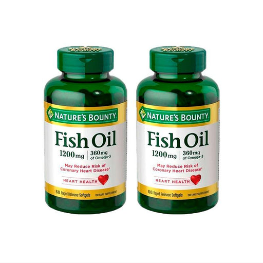 Fish Oil (Aceite de Pescado) 1,200mg 60 softgels Natures Bounty (Pack de 2 Frascos)