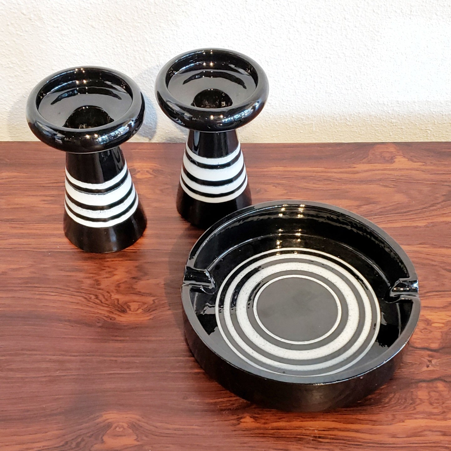 ALDO LONDI CANDLESTICKS AND ASHTRAY FOR BITOSSI CERAMICHE
