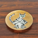 "ANNEMARIE DAVIDSON ENAMEL ON COPPER CAT PLATE (6"")"