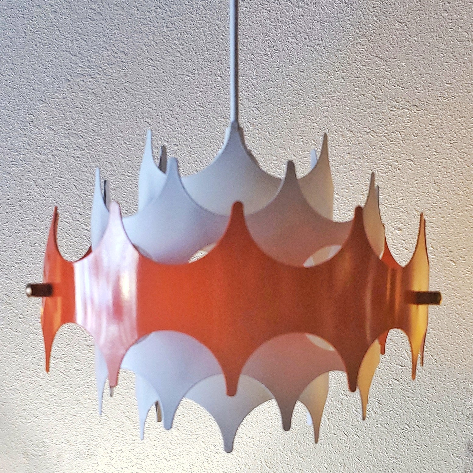 "A PAIR OF 60S DORIA LEUCHTEN PENDANT LIGHTS (10"" & 14"")"