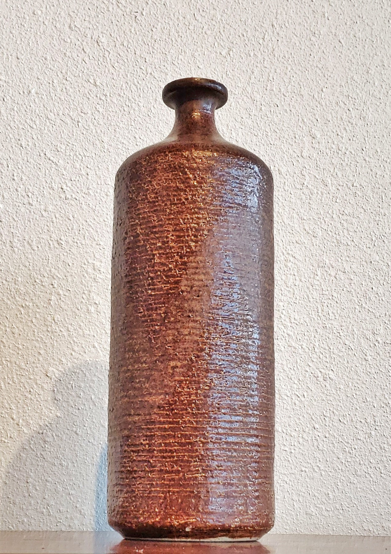 LARGE TEXTURAL STUDIO POTTERY BOTTLE VASE
