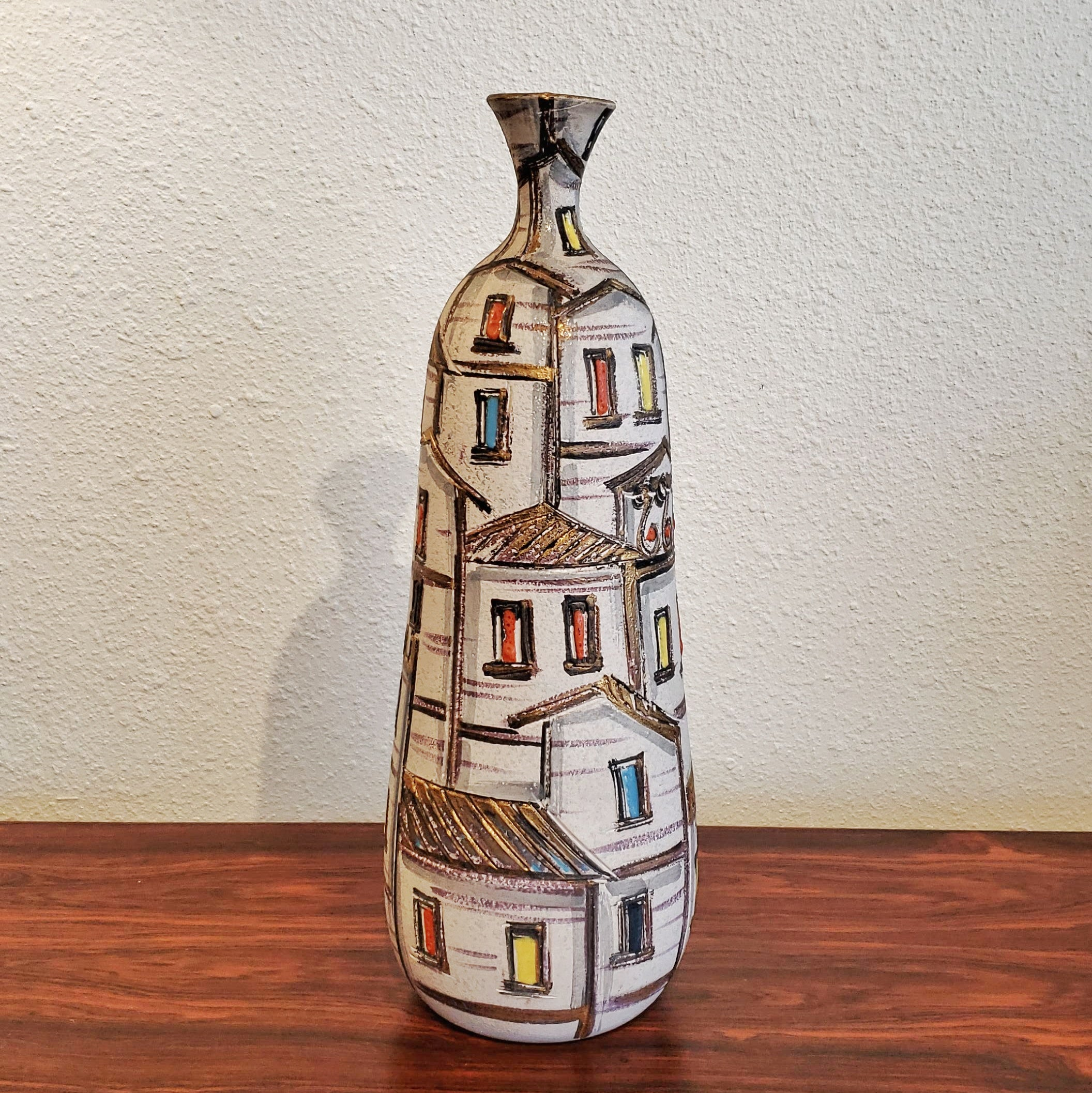 FRATELLI FANCIULLACCI 'ROOF TOPS' DECOR BOTTLE VASE (ITALY) (A)