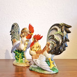 """FIGHTING COCKS"" FIGURINES BY URBANO ZACCAGNINI (PAIR) FLORENCE, ITALY"