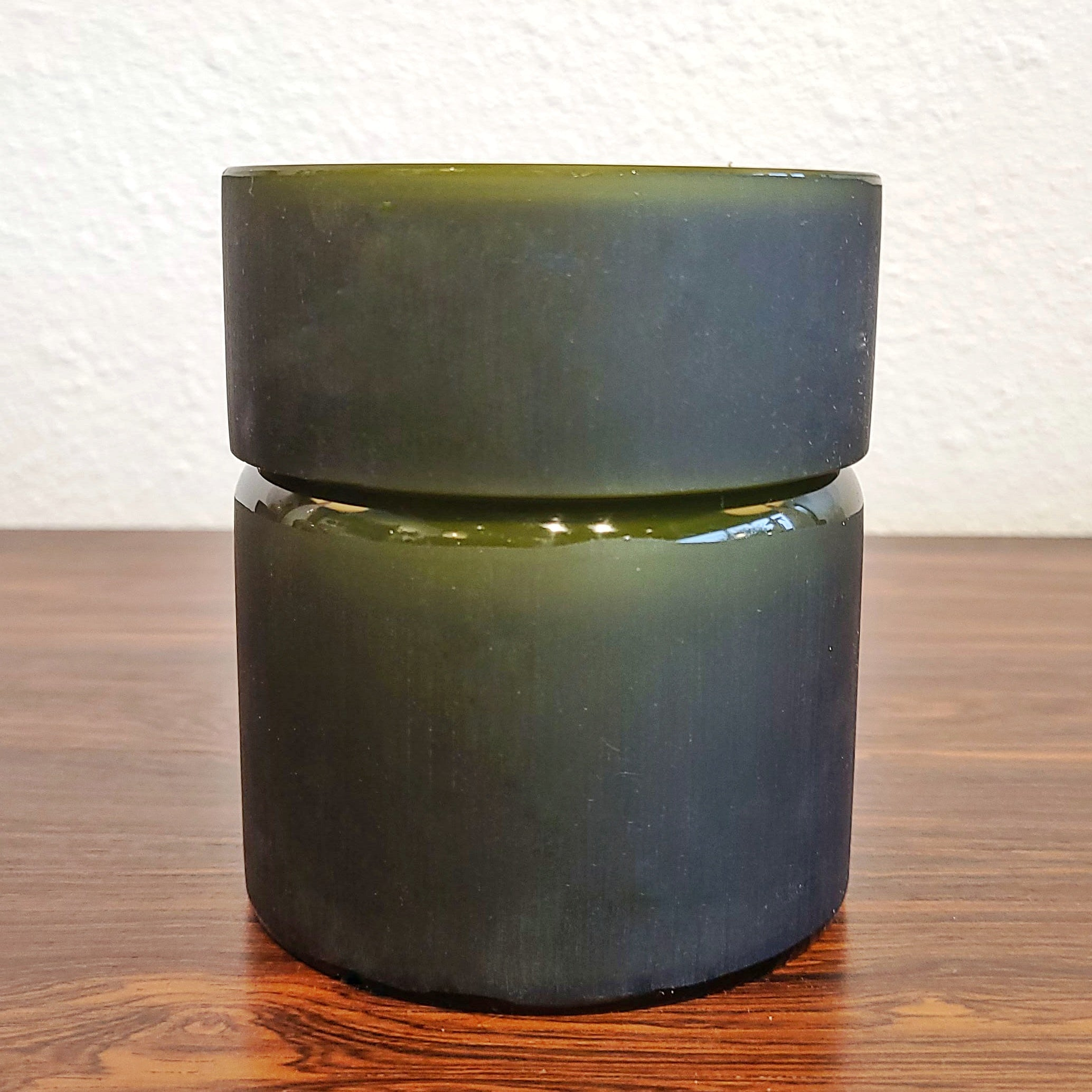1960s VISTOSI FROSTED OLIVE GREEN AND WHITE CASED GLASS BOX (MURANO)