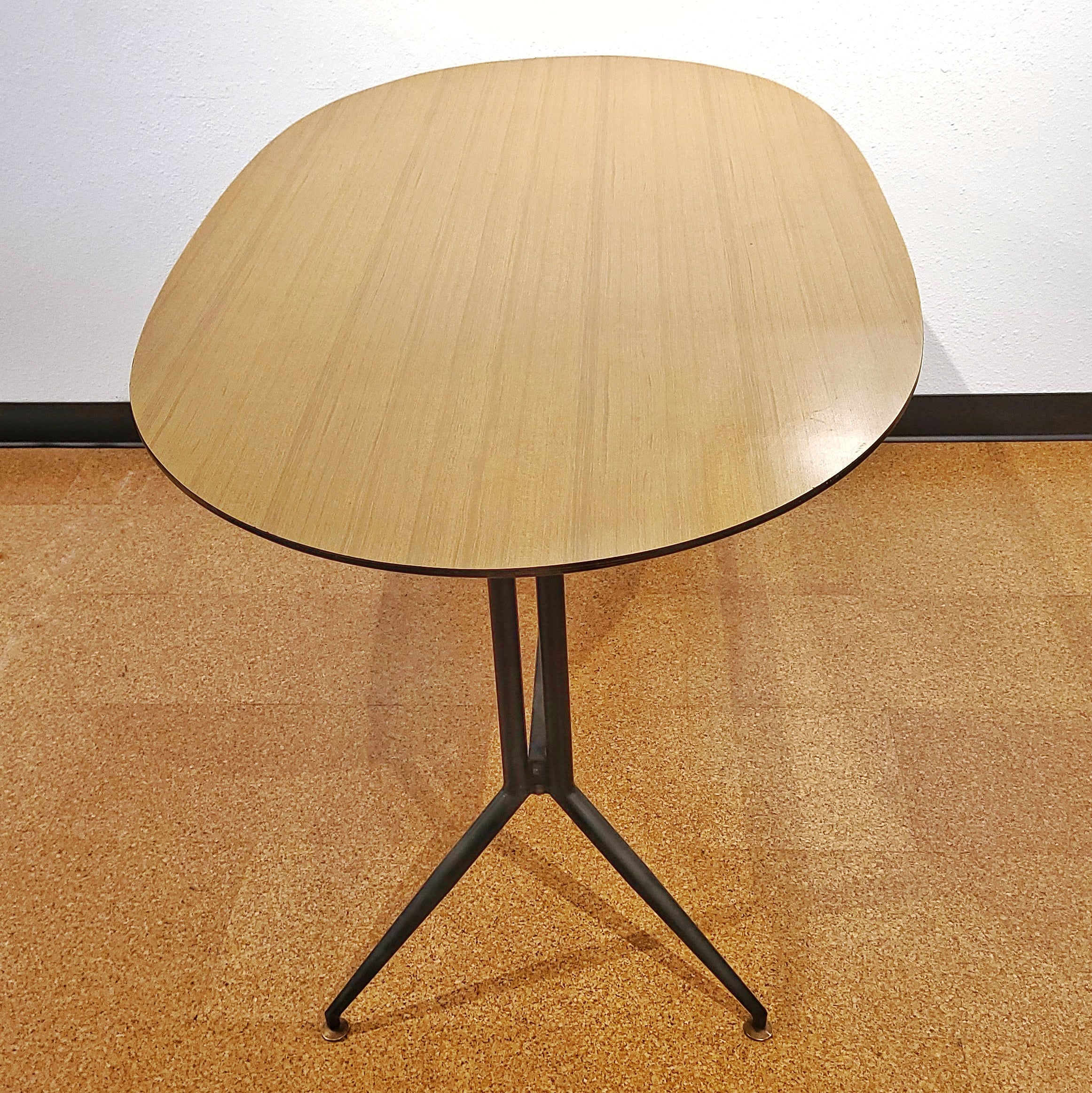 ITALIAN TRESTLE DINING TABLE OF TUBULAR STEEL AND LAMINATE ON PLYWOOD