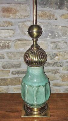 STIFFEL BRASS AND CERAMIC TABLE LAMP