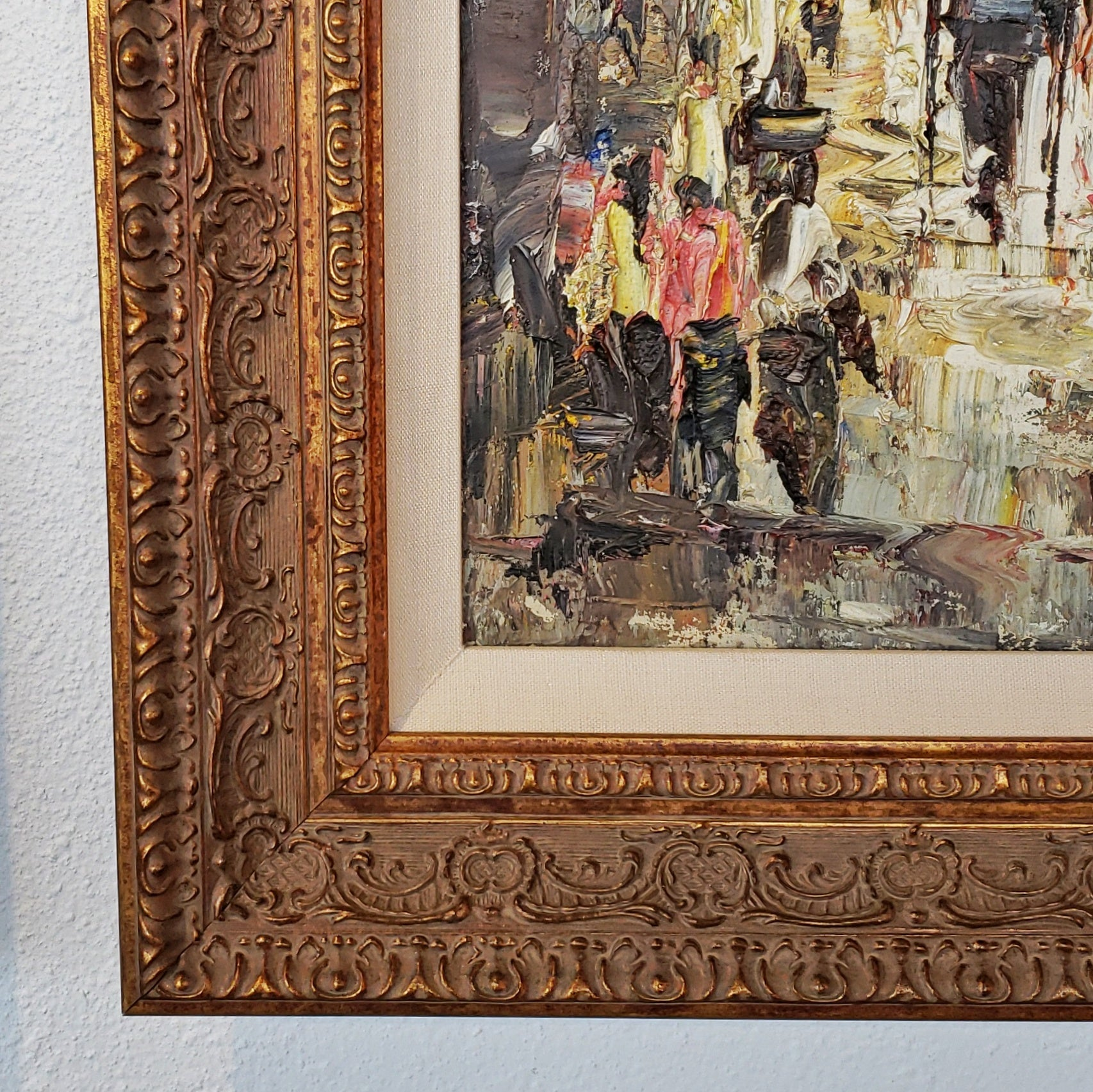 STREET SCENE WITH CARRIAGE - OIL IMPASTO ON CANVAS