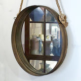 RUSTIC WHEEL-RIM HANGING MIRROR