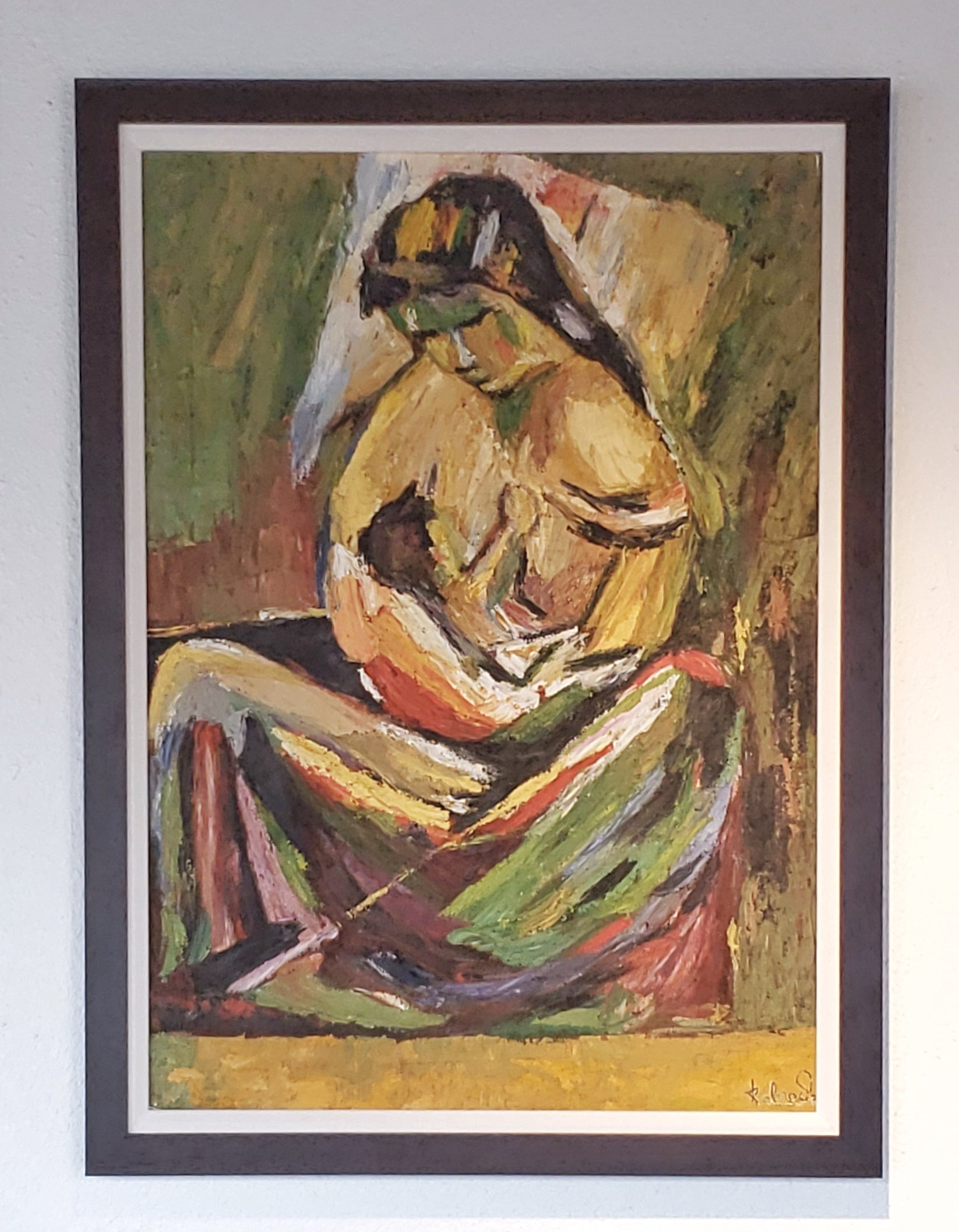 PORTRAIT OF A NURSING WOMAN AND CHILD (SIGNED)