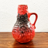 KREUTZ KERAMIK RED/BLACK FAT-LAVA JUG VASE 201 (23.5 cm)