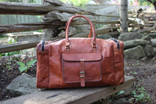 Fairholme Leather Duffel Bag | Mountain Messenger Co Natural Brown Leather Gym Bag, Brown Leather Weekender Bag