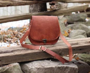 Logan Women's Cross-body Messenger Bag with Clasp Closure | Mountain Messenger Co Natural Brown Leather Purse