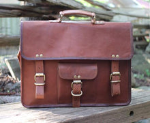 "Dawson 15"" mens leather briefcase 
