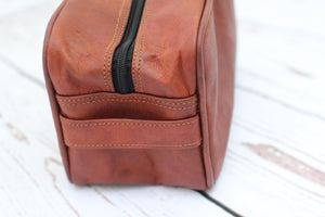 Julian Leather Toiletry Bag | Mountain Messenger Co Natural Brown Leather Toiletry Case, vegetable tanned men's leather dopp kit