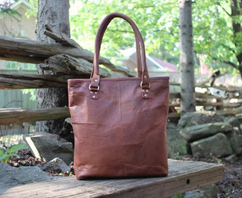 Louise Women's Leather Tote Bag with hinged rolled straps | Mountain Messenger Co Natural Brown Leather Tote Bag