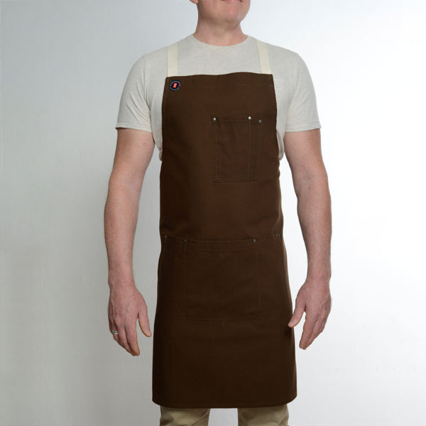 Multi Pocket Brown Crossback Apron
