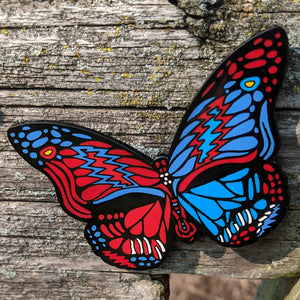 Dead Butterfly Pin (Blue/Red Skull) - Open Edition