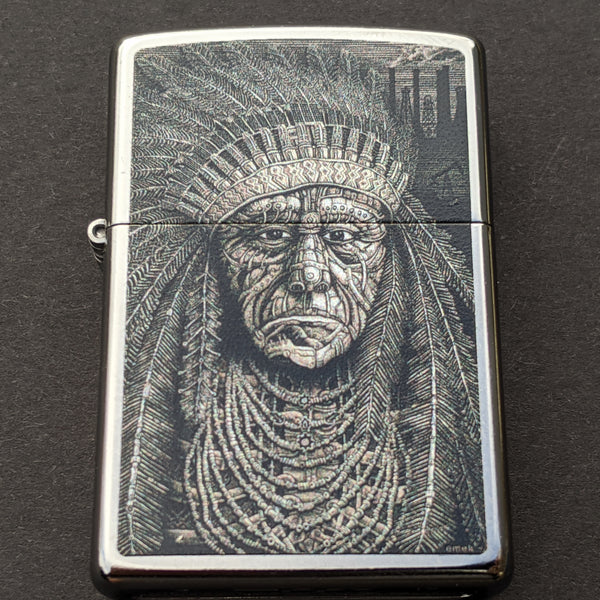 Native American Indian Chief Zippo Lighter - Silver
