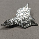 """Endless War"" Raw Metal Pin -  Silver Unnumbered"