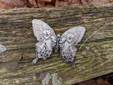 Set of 7 Silver Metal XL Dead Butterfly Pins