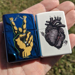Peace Guy and Black Heart Zippos - Matching Number Set