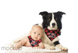 Funny Dog Bandana and Baby Bandana Matching Sister from Another Mister and Brother from Another Mother Buffalo Plaid Set