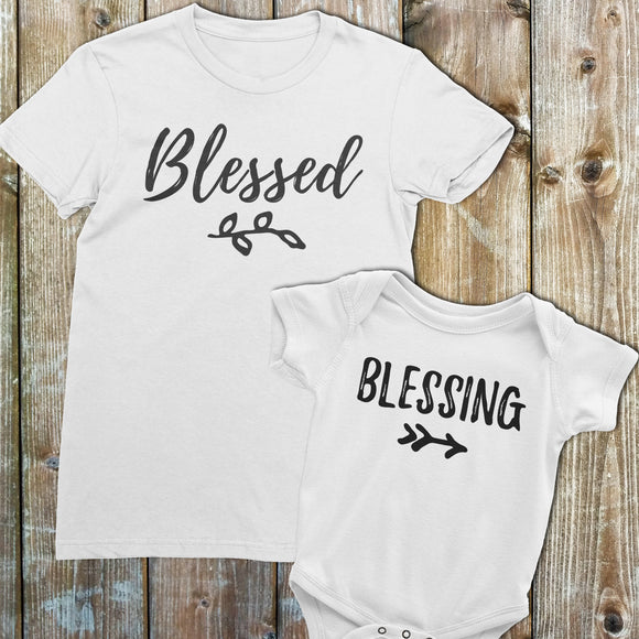 Mom and Baby Gift set | Blessed and Blessing Shirt and onesie or shirt | Gift for new mom | White set - Kennie Blossoms