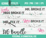 Handyman Family Bundle Mr. Fix it Digital Download SVG Cutting file for use with Cricut, Silhouette or digital cutter, commercial use - Kennie Blossoms