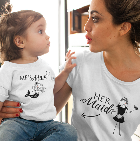 Funny Mermaid Mom and Daughter Shirts | MERmaid and HERmaid shirts | Mermaid Shirt for Adult and Kids | mom and daughter matching shirts | Mommy and Me - Kennie Blossoms