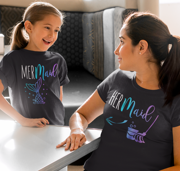 Funny Mermaid Mom and Daughter Shirts | MERmaid and HERmaid shirts | Mermaid Shirt for Adult and Kids | mom and daughter matching shirts | Mermaid Party Shirts | Mommy and Me - Kennie Blossoms