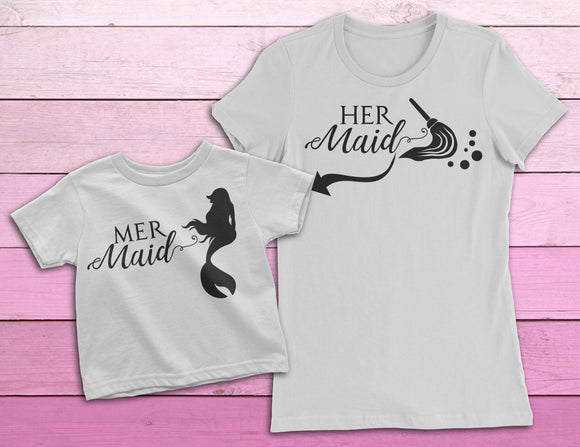 Mermaid Mommy and Me Shirts | Mother Daughter Gift for Mermaid Lovers | MERmaid and HERmaid shirts - Kennie Blossoms