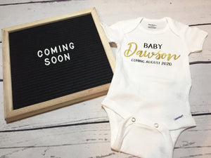 Personalized Baby Announcement Onesie Baby 'Your Last Name' Coming....