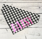 Over the Collar Personalized Dog Bandana Black and White Plaid with Pet's Name