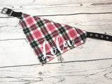 Over the Collar Personalized Dog Bandana Pink Plaid with Pet's Name