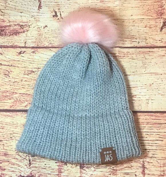 Kid's grey double brim knit hat with faux fur pink pom pom
