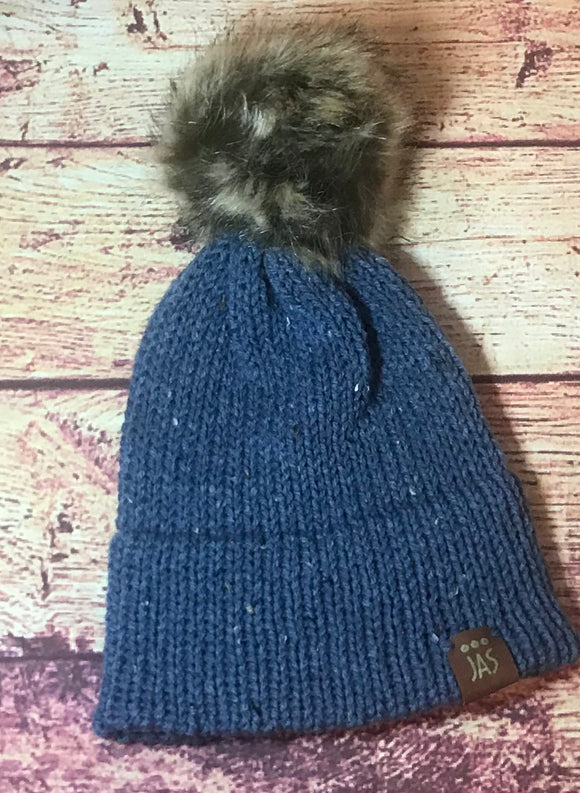 Blue tweed double brim beanie with big pom pom