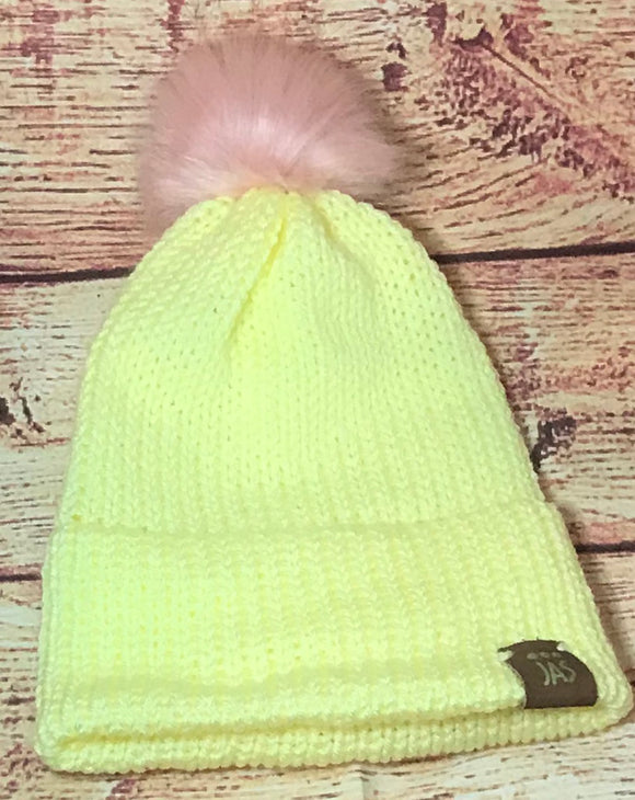 Lemonade double thick knit hat with pink faux fur pom pom
