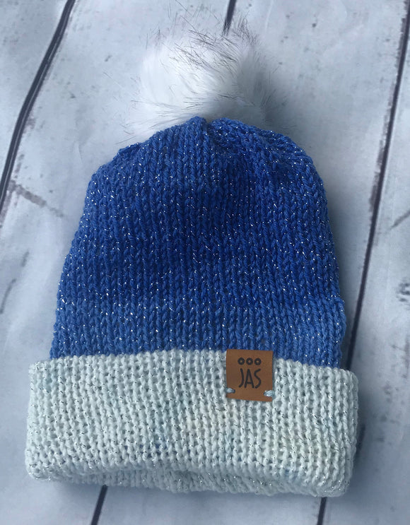 Sparkly blue tone double thick beanie with white faux fur pom pom
