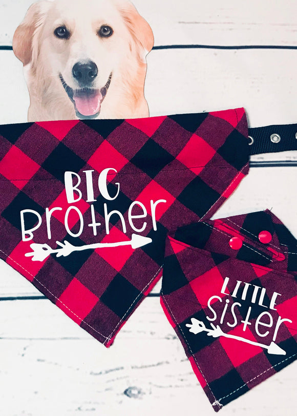 Dog Bandana and Baby Bandana Matching for new baby Big Brother or Sister Buffalo Plaid Set