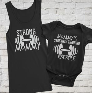 Fit Mom and Baby Set | Mom Tank Top Strong Mommy and Baby Onesie Mommy's strength training exercise |  Perfect gift for fitness or exercise mom in Black - Kennie Blossoms
