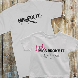 Father Daughter matching shirts | Family Shirt Set | Daddy & Daughter | Mr. Fix it and Little Miss Broke it set - White Shirt Set - Kennie Blossoms