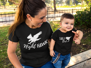 Funny Mom and Baby Night Hawk and Early Bird Shirt Set |  Mommy and Me funny shirt set - Kennie Blossoms