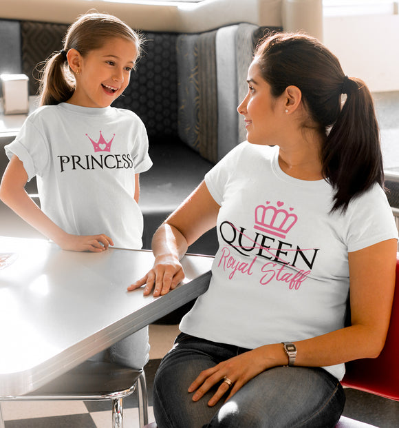 Mother and daughter shirts, Mommy and me Shirts, Mommy and me tshirts, Queen Staff and Princess Funny Shirt Set - Kennie Blossoms